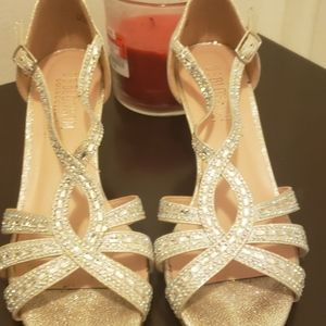 Silver sparkle high heels shoes